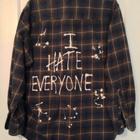 """Plaid flannel """"I Hate Everyone"""" hand painted shirt with heart // soft grunge"""