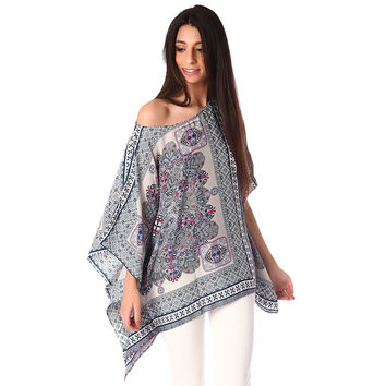 Grey sateen poncho top in paisley print