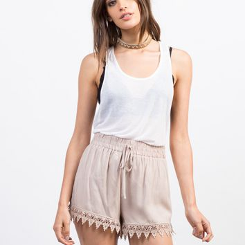 Crochet Trim Lightweight Shorts