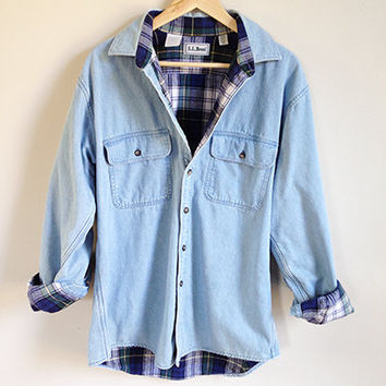 90s LL Bean Shirt -- Flannel Lined Shirt -- Blue Denim Shirt -- Long Sleeved -- Button Up -- Warm Shirt Jacket -- Unisex / Mens Medium