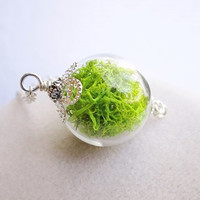 Lush Green Moss Filled Glass Orb Terrarium Necklace, Small Orb In Silver or Bronze, Hipster Jewelry