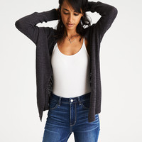 AEO Lace-Up-Back Cardigan, Gray