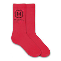 Monogram Dress Socks for the Wedding Party - Groom, Groomsmen, Best Man Dress Socks