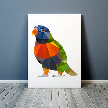 Parrot print Geometric art Bird poster Wall decor TO368-1