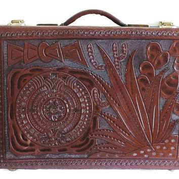 Vintage Leather Briefcase, Leather Attache,  Tooled Leather Briefcase, Aztec Briefcase, Aztec Attache, Tooled Leather Attache