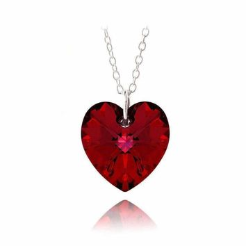 Red Crystal Heart Shaped Pendant Necklace on Sterling Silver Chain