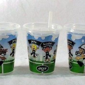 New York Jets NFL 10 oz Sip n Go Plastic Cups (Set of 3) BPA Free