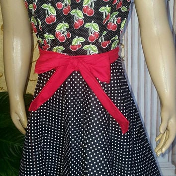 Babydoll- rockabilly- pinup- style apron with matching hair accesory