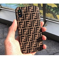 FENDI  Classic Fashionable Women Men Double F Letter Mobile Phone Cover Case For iphone 6 6s 6plus 6s-plus 7 7plus 8 8plus X XsMax XR Brown