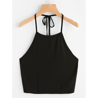 Self Tie Halter Top Black