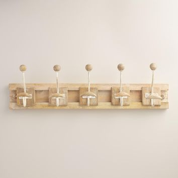 Wood Block 5 Hook Wall Storage