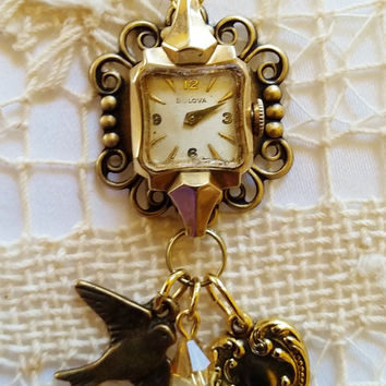 Vintage Watch Necklace, Filigree Charm Pendant, Bird, Heart Charm Necklace,  Ladies Bulova Watch, Gold Chain, Antique Ladies Watch Necklace