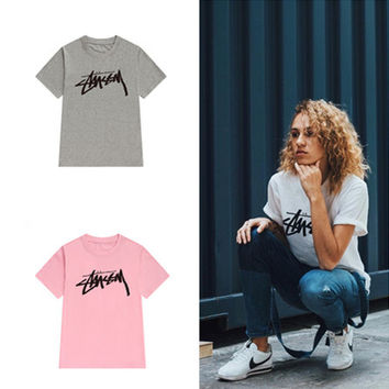 """Stussy"" Fashion Male Female Classic Letter Print Round Neck Short Sleeve Couple Cotton T-shirt"