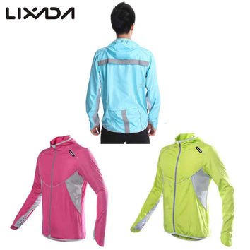 Men Women Windproof Outdoor Sports Clothing Waterproof Bicycle Cycling Jersey Long Sleeve Running Bike Jacket Hooded Coat