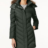 Kenneth Cole Faux-Fur-Trim Chevron Quilted Down Coat | macys.com
