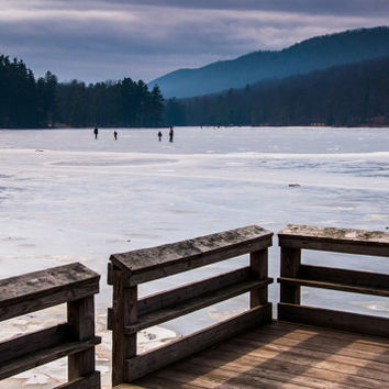 Ice skaters on Cowans Gap Lake - Winter Nature Photography Fine Art Print or Gallery Wrap Canvas Home Decor