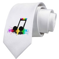 Paint Music Note Printed White Necktie