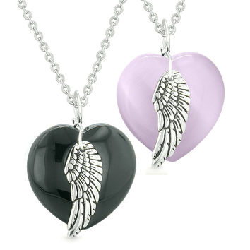 Amulets Angel Wing Hearts Love Couples or Best Friends Black Agate Purple Simulated Cats Eye Necklaces