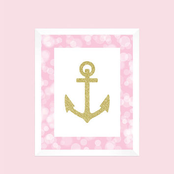 Nautical Gold Glitter Anchor Pink Print Nursery Decor Baby Print CUSTOMIZE YOUR COLORS 8x10 Prints Nursery Decor Art Baby Room Decor Kids