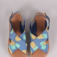 Qupid Pineapple Print Cross Band Slingback Flat Sandal