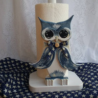 Paper Towel Holder, Owl Paper Towel Holder, Wooden owl, Owl Kitchen Decor, Navy Blue Owl, Owl Gifts, Custom Owl Gifts, Cute Owl