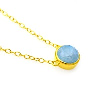 Turquoise and Rainbow Moonstone Doublet Gold Necklace