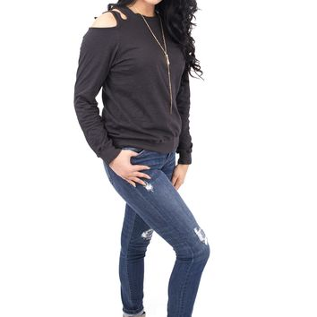 Women's Long Sleeve Tee with Cold Shoulder Cut Outs