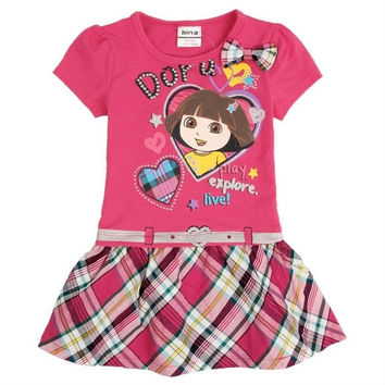 Dora girl dress nova kids brand 100% cotton hot selling