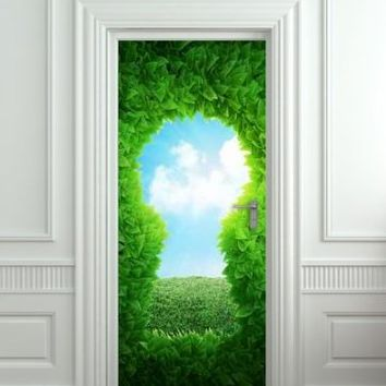 "Wall Door STICKER Key hole green poster, mural, decole, film 30x79"" (77x200 Cm)"