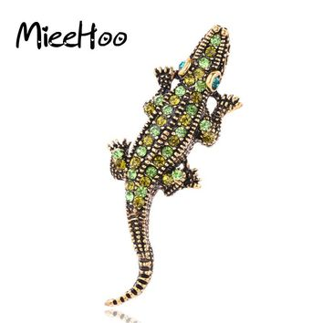 2017 New Fashion Animal Jewelry Gecko Vintage Brooch Pin Rhinestone Brooches Accessories For Women And Girls Gift