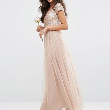 Maya Bardot Maxi Dress With Delicate Sequin And Tulle Skirt at asos.com