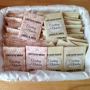 50 Wildflower Seed Packet Favors - Let Love Grow - Wedding or Shower Favors