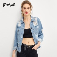 ROMWE Blue Ripped Faded Wash Denim Jacket Women 2018 Fashion Clothing Casual Womens Jackets And Coats Autumn Female Outerwear