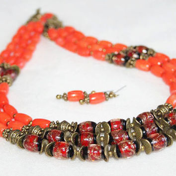 Orange coral necklace earrings Big Natural Coral Ukrainian jewelry Modern Venetian glass jewelry Exclusive Ethnic  Coral Ukrainian necklace