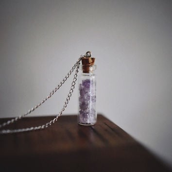 Raw Amethyst Crystal Healing Necklace - Womens Jewellery Tumblr Hipster Hippie Boho Bohemian Christmas Gift Present Silver
