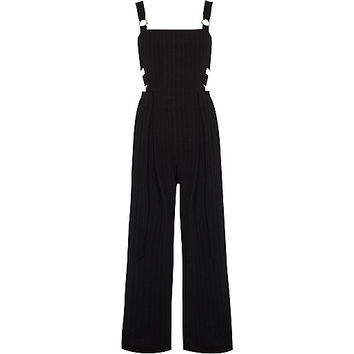 Black pinstripe eyelet overalls - overalls - rompers / jumpsuits - women