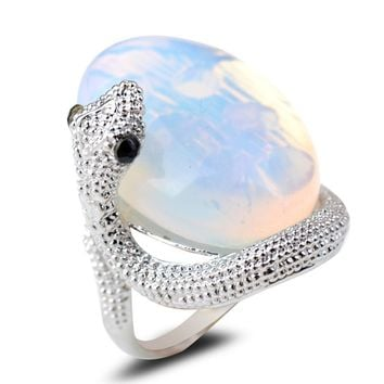 Winsome Fashion Jewelry .925 Sterling Silver Natural Moonstone Snake Ring