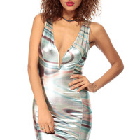 Mermaid in Shimmer Plunging Body Con Dress