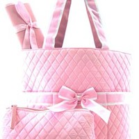 3 Piece Solid Color Quilted Diaper Bag Set w/ Changing Pad & Cosmetic Purse (Pink)
