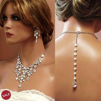 Bridal Crystal Pearl Necklace and Earrings Jewelry Set