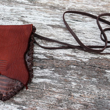 Cognac Goat Leather Medicine Bag with Brown Boa Snake Skin, Simple Necklace Pouch, Shaman Talisman