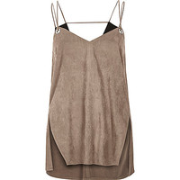 Light brown faux-suede eyelet cami - cami / sleeveless tops - tops - women