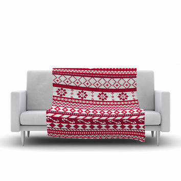 "Noonday Design ""Red Fairisle Christmas Pattern"" Red White Fleece Throw Blanket"