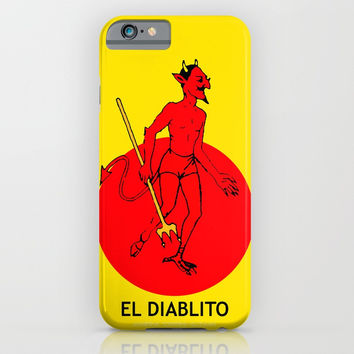 El Diablito Mexican Loteria iPhone Case by minervatg