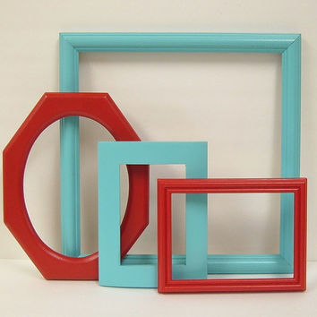 Picture Frames Shabby Chic Picture Frame Set Aqua Red Turquoise Wall Decor Retro Cottage Chic