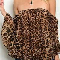 Leopard bell sleeve top from PeaceLove&Jewels