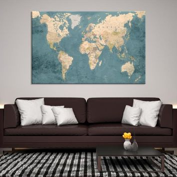 77774 - Large Wall Art Push Pin World Map, Push Pin, World Map, Wall Art Canvas, Push Pin Map, Navy Blue Wall Art, Pushpin World Map Print,