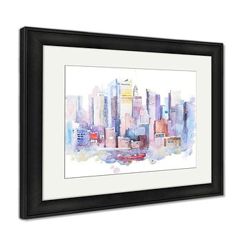Framed Print, Watercolor Drawing Of New York Cityscape USA Manhattan Aquarelle Painting