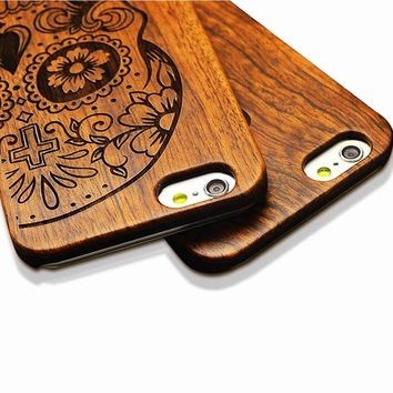 Retro Nature Embossed Wood Phone Cases For iPhone 5 5s SE 6 6s 7 8 Plus Funda Novel Carving Wooden Case PC Cover Hard Shell Capa