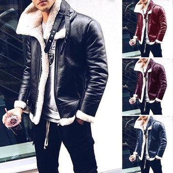 2018 New Winter Men Plus Genuine Leather Coats Pilot Jacket Faux Lamb Wool Motorcycle Jackets Warm Jacket
